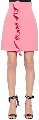 MSGM Double Crepe Cady Mini Skirt W/ Ruffles