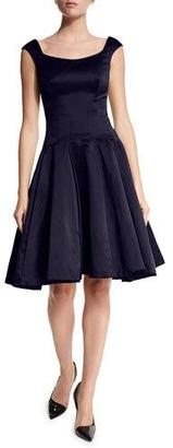Zac Posen Cap-Sleeve Scoop-Neck Cocktail Dress, Midnight $2,290 thestylecure.com