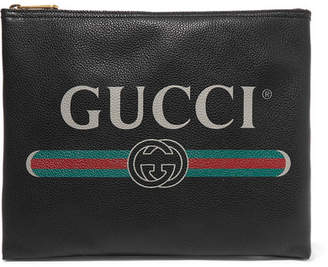 Gucci Printed Textured-leather Pouch - Black