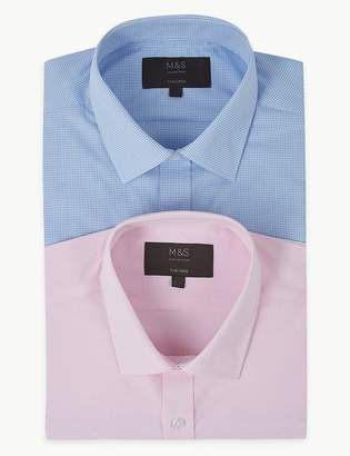 M&S CollectionMarks and Spencer 2 Pack Cotton Blend Tailored Fit Shirts