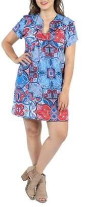 24/7 Comfort Apparel 24Seven Comfort Apparel Monica Red and Blue Plus Size Mini Dress