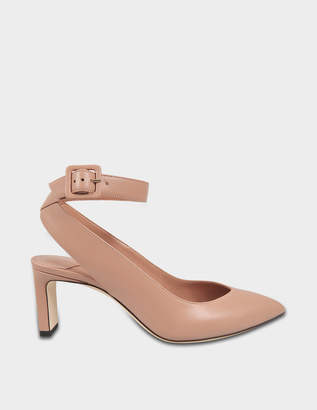 Jimmy Choo Lou Mid Pumps with Ankle Strap in Ballet Pink Shiny Smooth Leather
