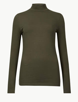 Marks and Spencer Funnel Neck Long Sleeve Fitted T-Shirt