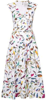 Carolina Herrera bird print midi dress