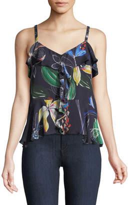 Parker Bonnie Floral-Print Flounce Camisole Top