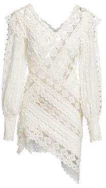 Zimmermann Moncur Studded Embroidery Mini Dress