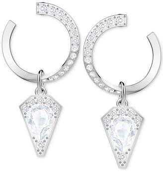 Swarovski Silver-Tone Crystal Circle Drop Earrings