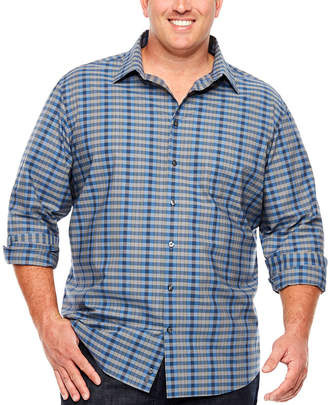 Claiborne Long Sleeve Plaid Button-Front Shirt-Big and Tall