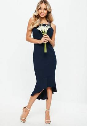 Missguided Bridesmaid Navy 90s Neck Strappy Fishtail Midi Dress