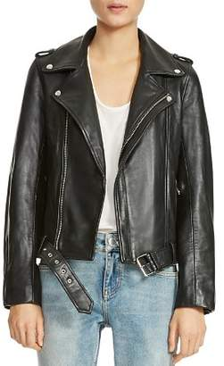 Maje Bocelix Belted Leather Motorcycle Jacket