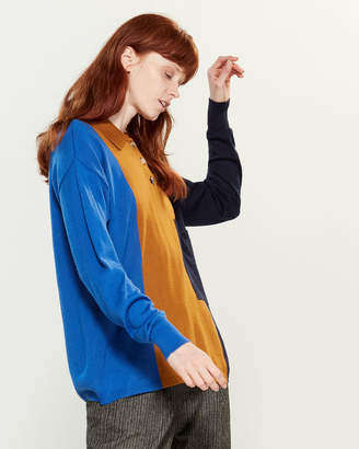 Tela Color Block Long Sleeve Polo