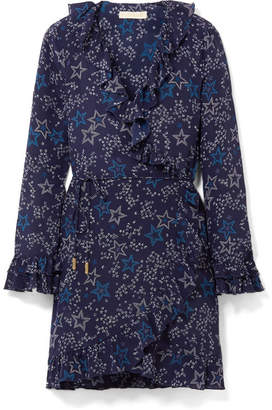 Paloma Blue - Fiesta Ruffled Printed Silk Wrap Dress - Navy