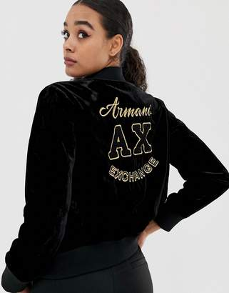 Armani Exchange velvet embroidered bomber jacket