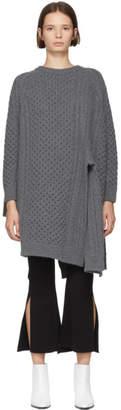 Stella McCartney Grey Wool and Alpaca Crewneck Cape Sweater