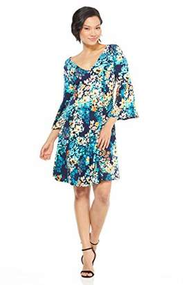 London Times Women's 3/4 Bell Sleeve V Neck FIT and Flare Dress