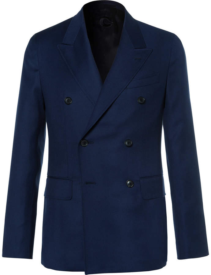Caruso Caruso Blue Butterfly Slim-Fit Double-Breasted Wool-Hopsack Blazer