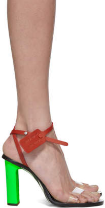 Off-White Green and Transparent Zip-Tie Capri Heeled Sandals
