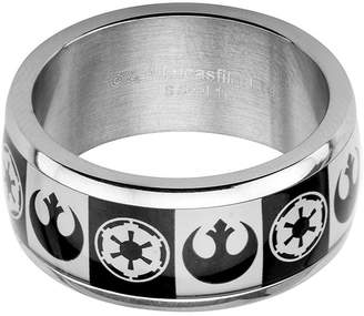 Star Wars FINE JEWELRY Imperial and Rebel Symbol Mens Stainless Steel Ring