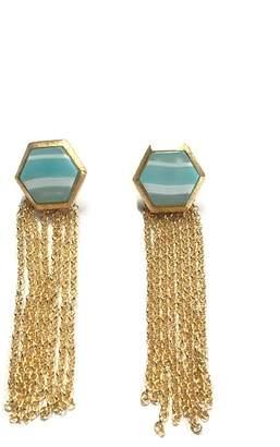 Marcia Moran Teal Tassel Earrings