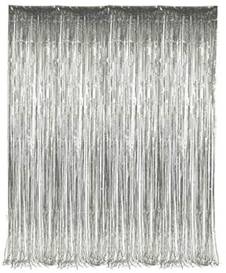 "Set of 2 Silver Foil Fringe Door & Window Curtain Party Decoration 3' X 8' (36"" X 96"") ""Value Pack of 2"""