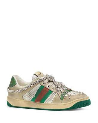 Gucci Screener Distressed Sneakers with Crystals