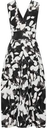 Milly Elisa Pleated Printed Cotton-Blend Faille Midi Dress