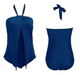 Unbranded Plus Size Fashion One Piece Swim Suit(Blue XLarge)