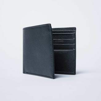 DSTLD Mens Saffiano Leather Bifold Wallet in Black