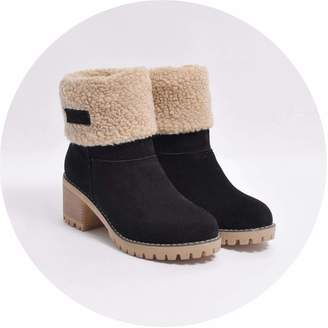 865f027b1548 Sunmiles High end Ladies Winter Round Toe Shoes Flock Warm Martin Slip-On  Snow Outdoor