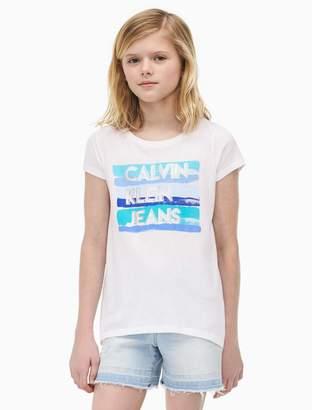 Calvin Klein girls painted stripe logo t-shirt