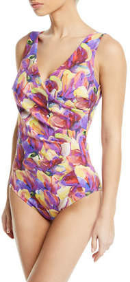 Chiara Boni Kylo Ruched Floral One-Piece Swimsuit