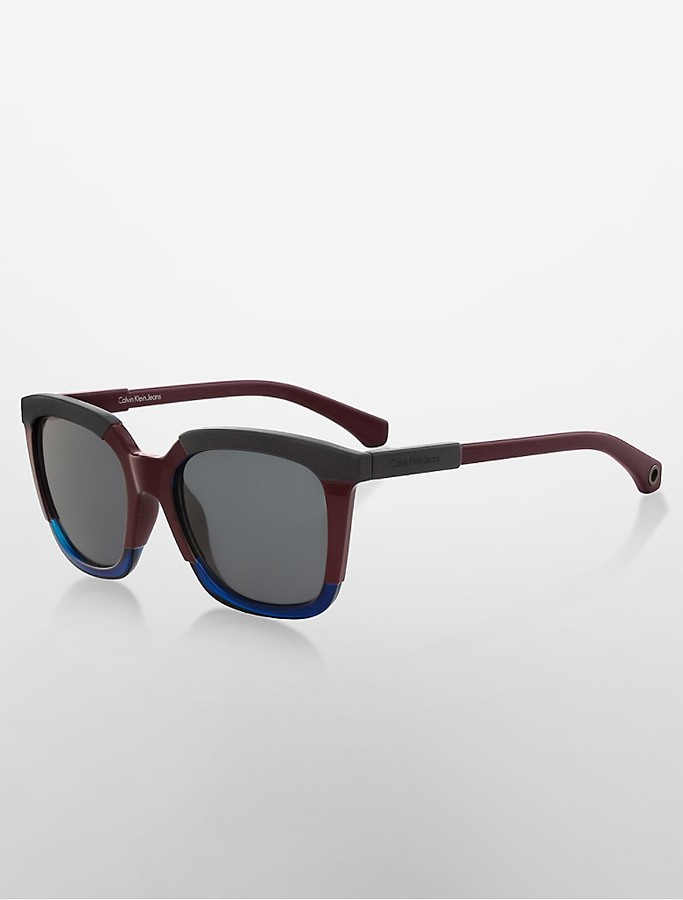 Calvin KleinRectangle Tri-Tone Sunglasses