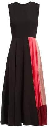Roksanda Zahida Pleated Insert Crepe De Chine Midi Dress - Womens - Black Multi
