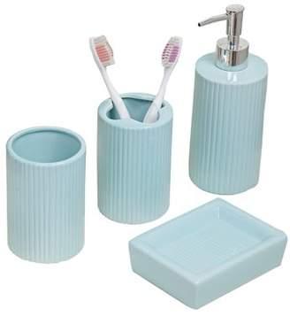 Indecor Home (Indhg) Indecor Home 4-Piece Ceramic Bath Accessory Set In Aqua