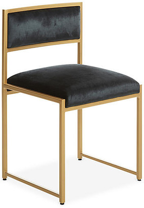 Ave Home Carlyle Brass Side Chair - Black Velvet