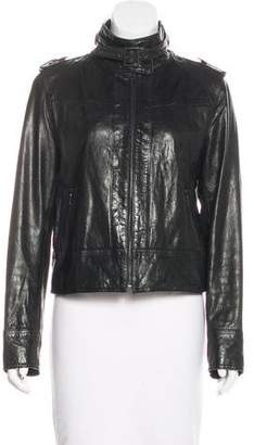 Kenneth Cole Stand Collar Leather Jacket
