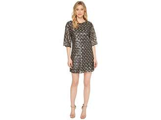 Laundry by Shelli Segal Sequin Mesh Diamond Grid Shift Cocktail Dress Women's Dress