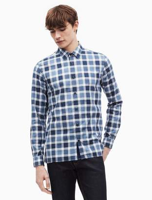 Calvin Klein brushed flannel buffalo check button down shirt