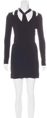Yigal Azrouel Leather-Trimmed Sheath Dress