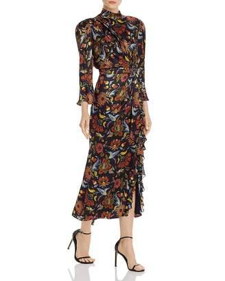 Cinq à Sept Juliana Tie-Waist Silk Midi Dress