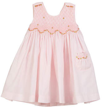 Luli & Me Smocked Floral Embroidered Dress, Size 2-4T