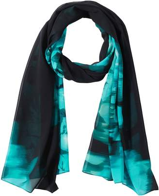 Calvin Klein Women's Placed Floral Chiffon Scarf Accessory