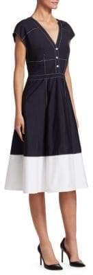 Carolina Herrera Stretch Cotton A-Line Dress
