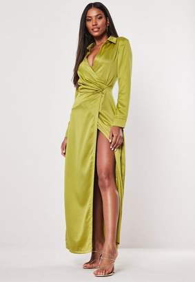 Missguided Lime Satin Drape Front Maxi Dress