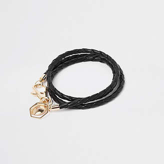 River Island Mens Black woven leather bracelet