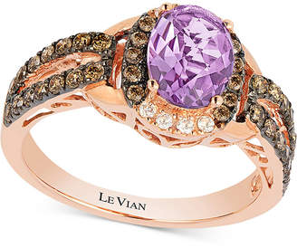LeVian Le Vian Chocolatier Amethyst (9/10 ct. t.w.) and Diamond (1/2 ct. t.w.) Ring set in 14k Rose Gold