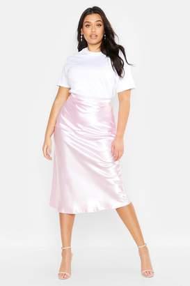 boohoo Plus Satin Bias Midi Skirt