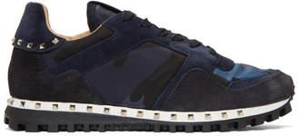 Valentino Navy Garavani Camo Rockrunner Sneakers