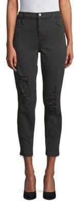J Brand Distressed Cropped Skinny Jeans