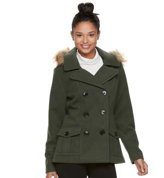 Urban Republic Juniors' Faux-Fur Double-Breasted Peacoat